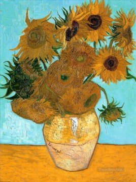sunflowers sunflower Painting - Still Life  Vase with Twelve Sunflowers Vincent van Gogh Impressionism Flowers