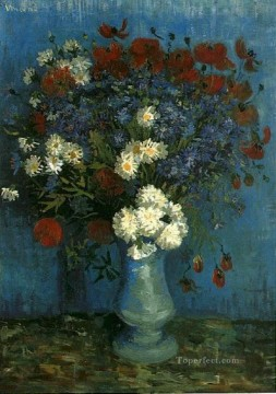 Still Life Vase with Cornflowers and Poppies Vincent van Gogh Impressionism Flowers Oil Paintings