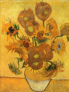 Still Life Vase with Fifteen Sunflowers 2 Vincent van Gogh Impressionism Flowers Oil Paintings