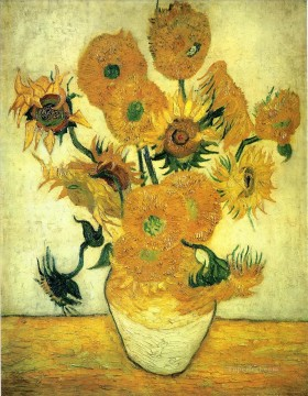 sunflowers sunflower Painting - Still Life Vase with Fourteen Sunflowers Vincent van Gogh Impressionism Flowers