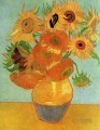 Still Life Vase with Twelve Sunflowers Vincent van Gogh Impressionism Flowers