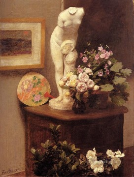 Still Life With Torso And Flowers flower painter Henri Fantin Latour Oil Paintings