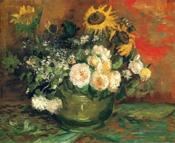 sunflowers sunflower Painting - Still Life with Roses and Sunflowers Vincent van Gogh Impressionism Flowers