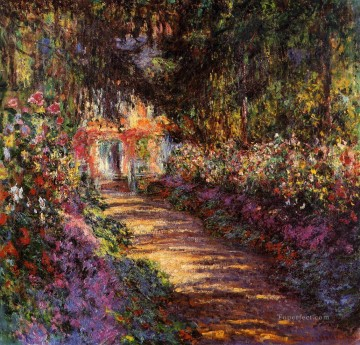Impressionism Flowers Painting - The Flowered Garden Claude Monet Impressionism Flowers