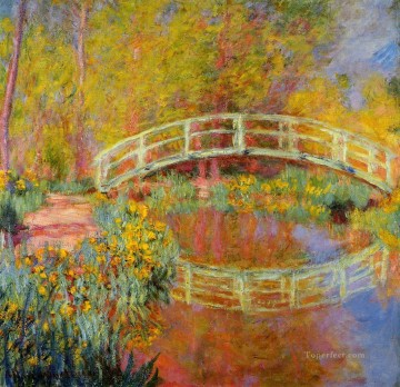 Impressionism Flowers Painting - The Japanese Bridge at Giverny Claude Monet Impressionism Flowers