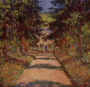 Impressionism Flowers Painting - The Main Path at Giverny Claude Monet Impressionism Flowers