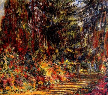 Impressionism Flowers Painting - The Path at Giverny Claude Monet Impressionism Flowers