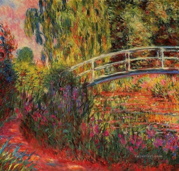 monet water lily lilies waterlily waterlilies Painting - The Water Lily Pond aka Japanese Bridge 1900 Claude Monet Impressionism Flowers
