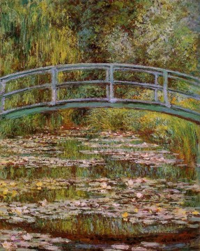 monet water lily lilies waterlily waterlilies Painting - The Water Lily Pond aka Japanese Bridge Claude Monet Impressionism Flowers