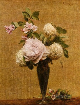 Vase of Peonies and Snowballs flower painter Henri Fantin Latour Oil Paintings