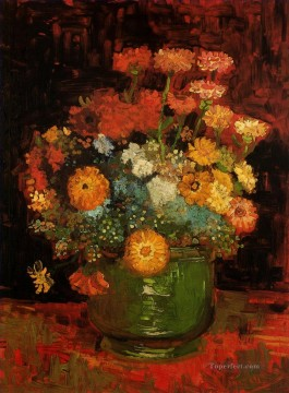 vincent van gogh Painting - Vase with Zinnias Vincent van Gogh Impressionism Flowers