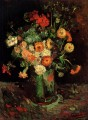 Vase with Zinnias and Geraniums Vincent van Gogh Impressionism Flowers