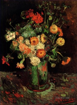 geraniums art - Vase with Zinnias and Geraniums Vincent van Gogh Impressionism Flowers