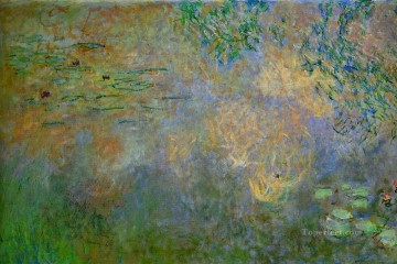 Impressionism Flowers Painting - Water Lily Pond with Irises left half Claude Monet Impressionism Flowers