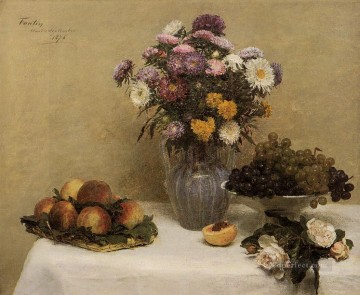 White Roses Chrysanthemums in a Vase Peaches and Grapes on a Table with a Whi flower painter Henri Fantin Latour Impressionism Flowers Oil Paintings