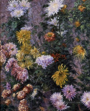impressionists Oil Painting - White and Yellow Chrysanthemums Garden at Petit Gennevilliers Impressionists Gustave Caillebotte Impressionism Flowers