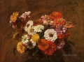 Zinnias in a Vase flower painter Henri Fantin Latour