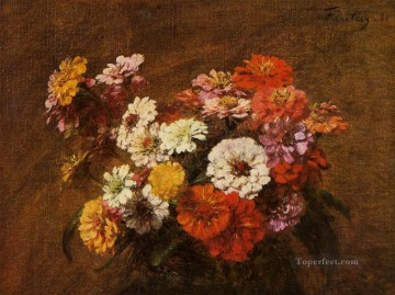 Zinnias in a Vase flower painter Henri Fantin Latour Oil Paintings