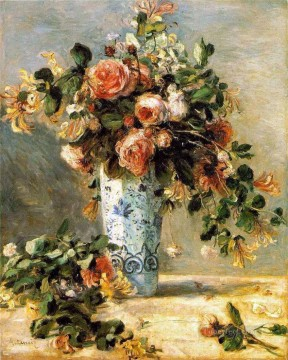 Pierre Works - roses and jasmine in a delft vase flower Pierre Auguste Renoir
