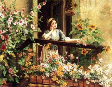 A Pensive Moment countrywoman Daniel Ridgway Knight Impressionism Flowers Oil Paintings