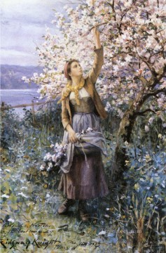 Impressionism Flowers Painting - Gathering Apple Blossoms countrywoman Daniel Ridgway Knight Impressionism Flowers