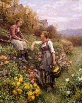 Gossips countrywoman Daniel Ridgway Knight Impressionism Flowers Oil Paintings