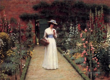 Edmund Works - Lady in a Garden historical Regency Edmund Leighton Impressionism Flowers