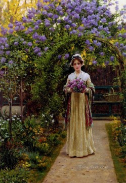 Lilac historical Regency Edmund Leighton Impressionism Flowers Oil Paintings