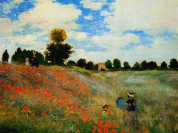 Argenteuil Canvas - Poppies at Argenteuil Claude Monet Impressionism Flowers