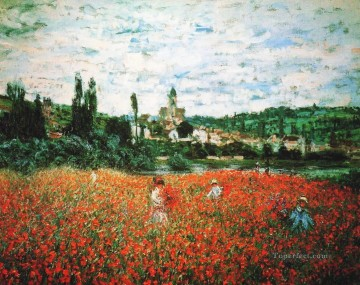 Impressionism Flowers Painting - Poppy Field near Vetheuil Claude Monet Impressionism Flowers