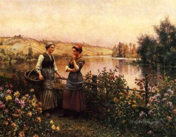 Stopping for Conversation countrywoman Daniel Ridgway Knight Impressionism Flowers Oil Paintings