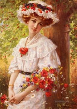 Under The Cherry Tree girl Emile Vernon Impressionism Flowers Oil Paintings