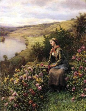 Impressionism Flowers Painting - Waiting countrywoman Daniel Ridgway Knight Impressionism Flowers