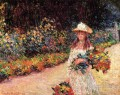 Young Girl in the Garden at Giverny Claude Monet Impressionism Flowers
