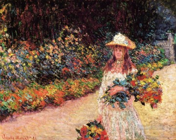 Impressionism Flowers Painting - Young Girl in the Garden at Giverny Claude Monet Impressionism Flowers