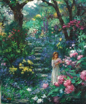 girl on floral path Oil Paintings