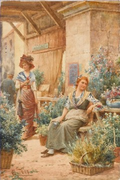 Artworks in 150 Subjects Painting - A flower market Alfred Glendening JR impressionism