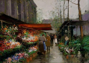 Made Oil Painting - EC flower market at la madeleine 2