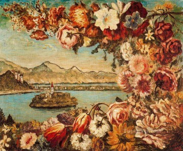 island and flower garland Giorgio de Chirico Impressionism Flowers Oil Paintings