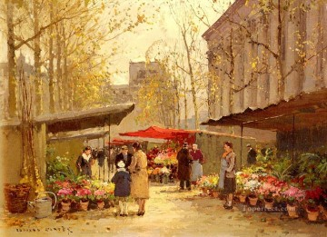 Made Oil Painting - EC flower market at la madeleine