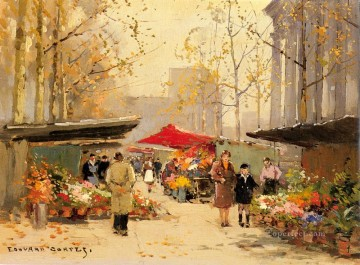 Made Oil Painting - EC flower stalls at la madeleine