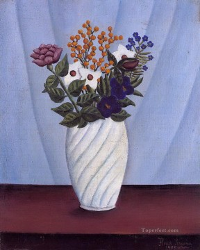 bouquet of flowers 1909 Henri Rousseau floral decoration Oil Paintings