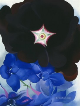 Flowers Painting - Black Hollyhock Blue Larkspur Georgia Okeeffe floral decoration
