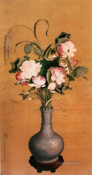 Lang shining flowers old China ink Giuseppe Castiglione floral decoration Oil Paintings