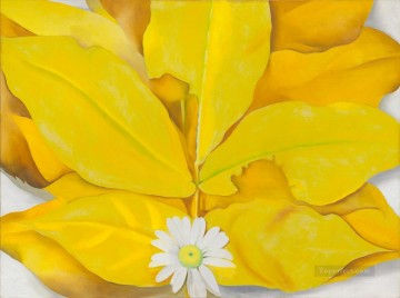Leaves Art Painting - Yellow Hickory Leaves with Daisy Georgia Okeeffe floral decoration