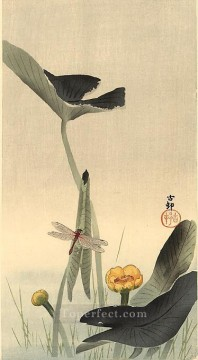 dragon Painting - dragonfly and lotus Ohara Koson floral decoration