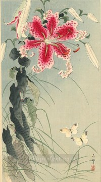 decoration decor group panels decorative Painting - lily and butterflies Ohara Koson floral decoration