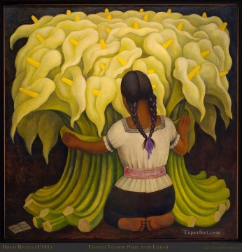 Girl with Lilies Diego Rivera Oil Paintings