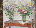 TWO BOUQUETS OF MULTI COLOURED FLOWERS BY A STOVE Petr Petrovich Konchalovsky modern