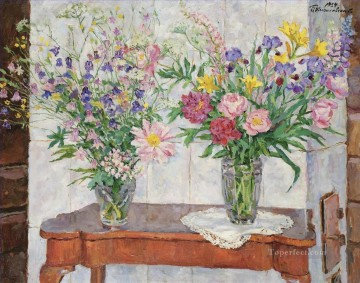 TWO BOUQUETS OF MULTI COLOURED FLOWERS BY A STOVE Petr Petrovich Konchalovsky modern Oil Paintings